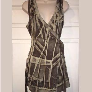 Salvage Brown Print Wrap Tunic Dress Top Sz Med